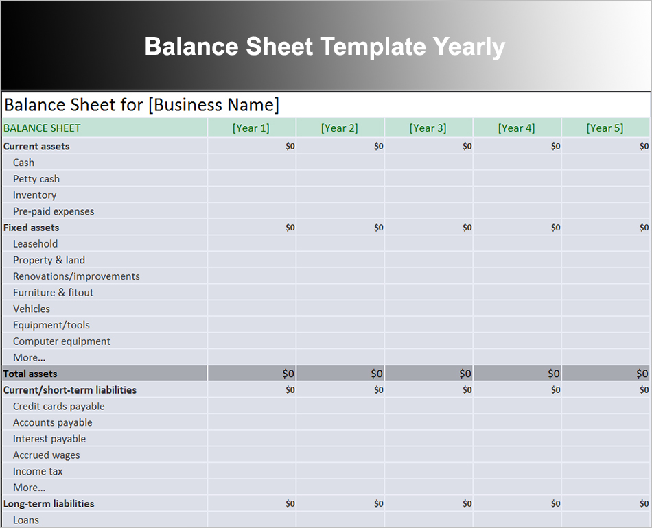 Balance Sheet Template Yearly