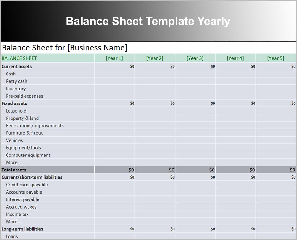 Balance Sheet Template Yearly