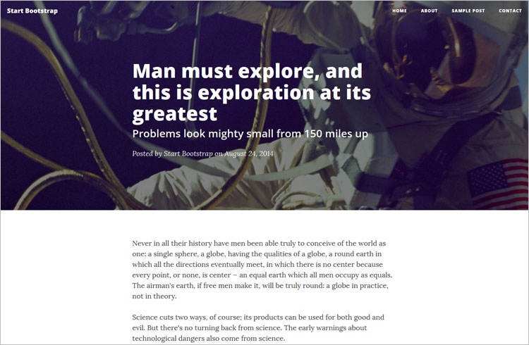 Blog Bootstrap Landing Page Template