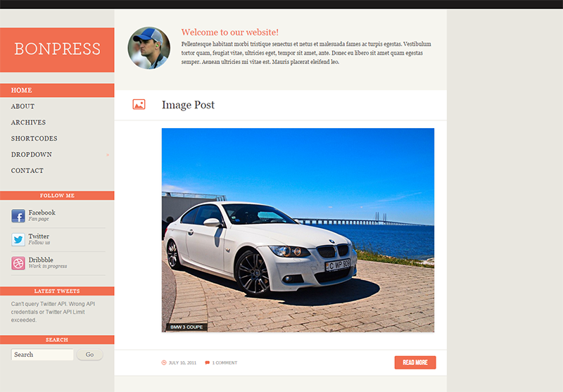 Blog Template with Multiple Color Schemes