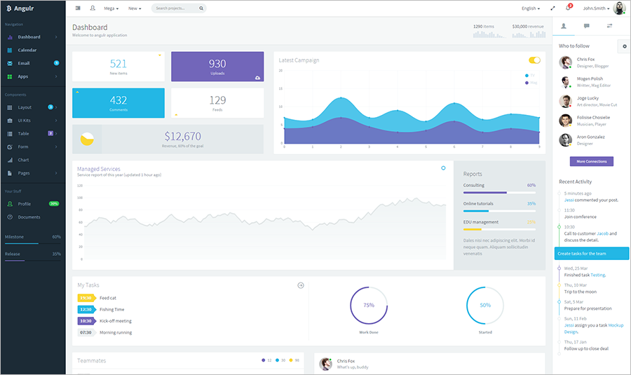 Bootstrap Admin Web App With AngularJS