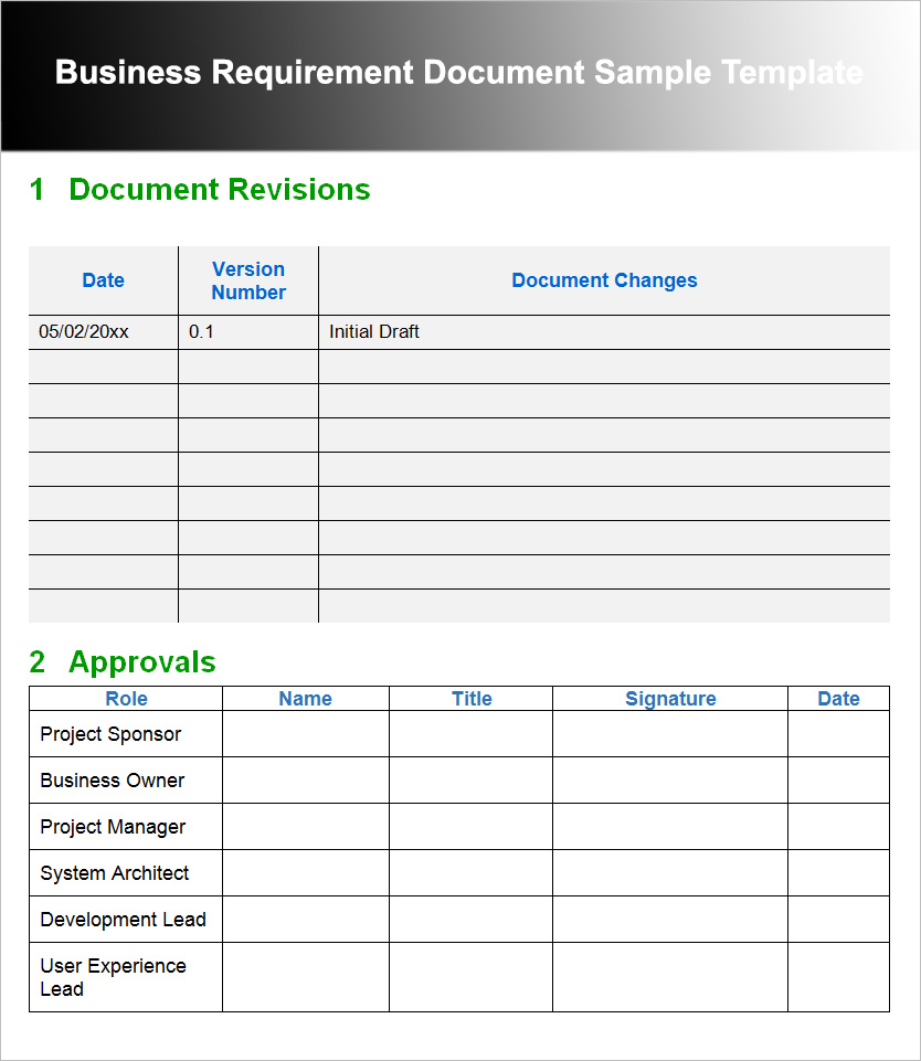 Business Requirement Document Sample Template