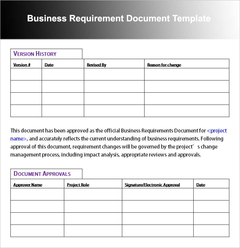 Business requirement document template for Business requirement specification document template