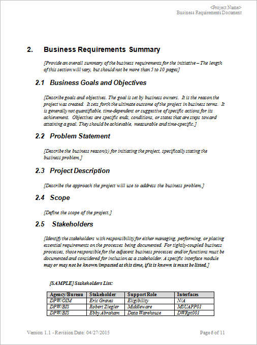 Business Requirements Documents Free Pdf Excel Templates