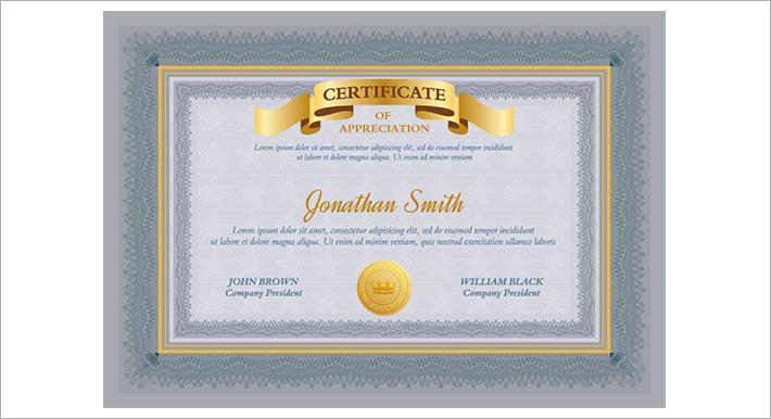 Certificate Template for Appreciation