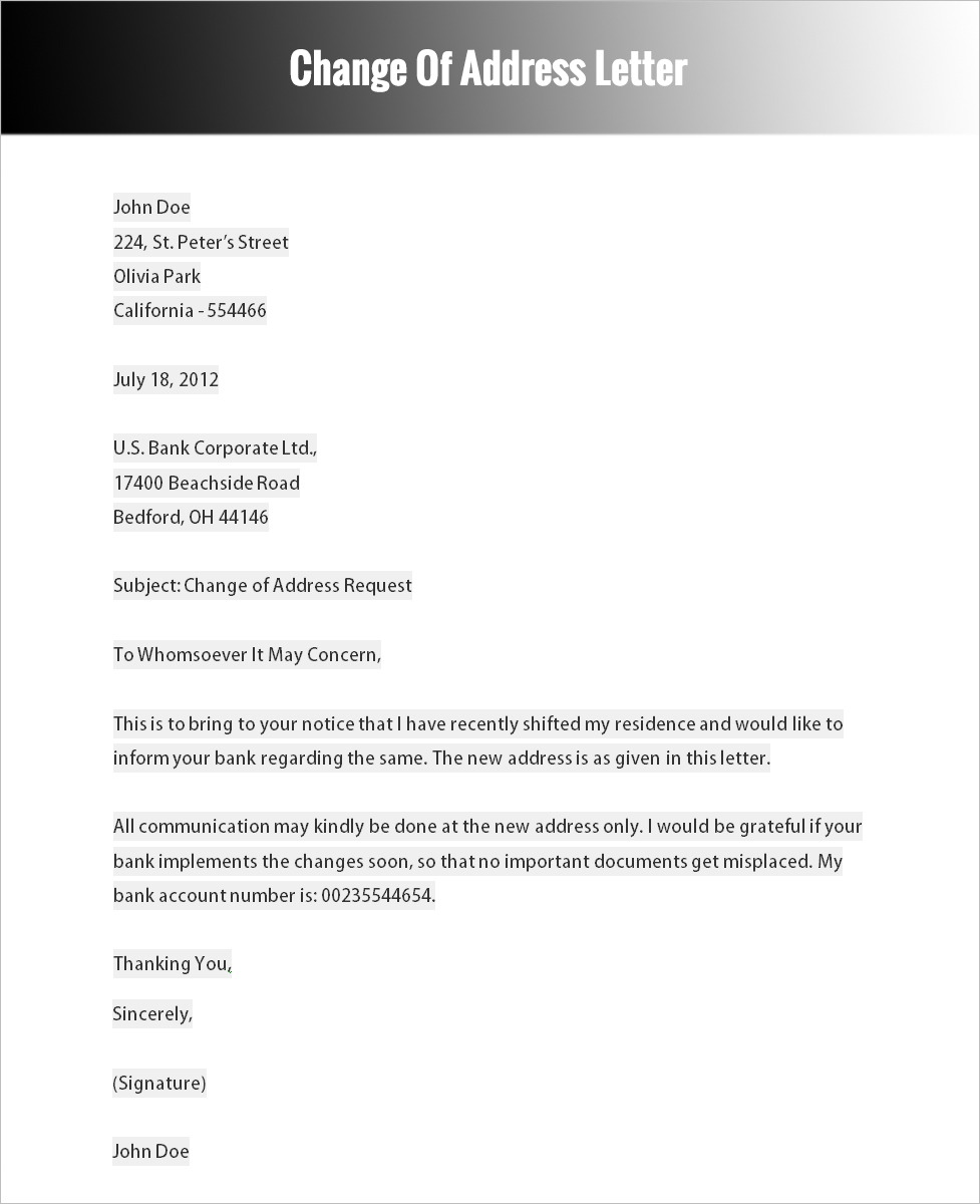 sample letter of change of company address to bank