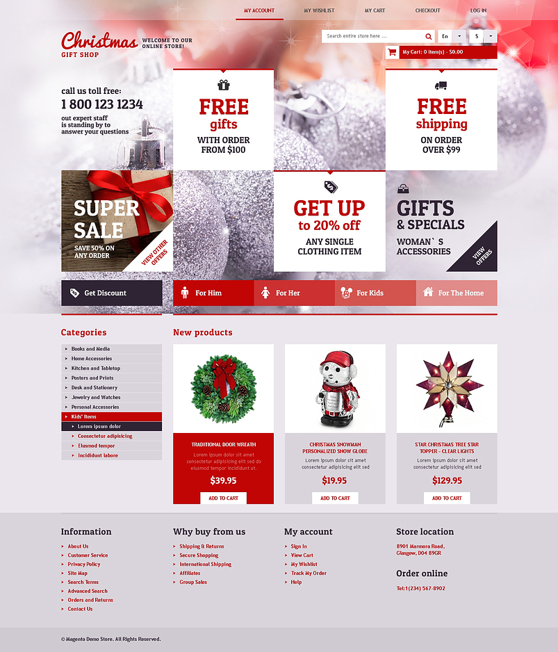 Christmas Gift Shop Magento Theme