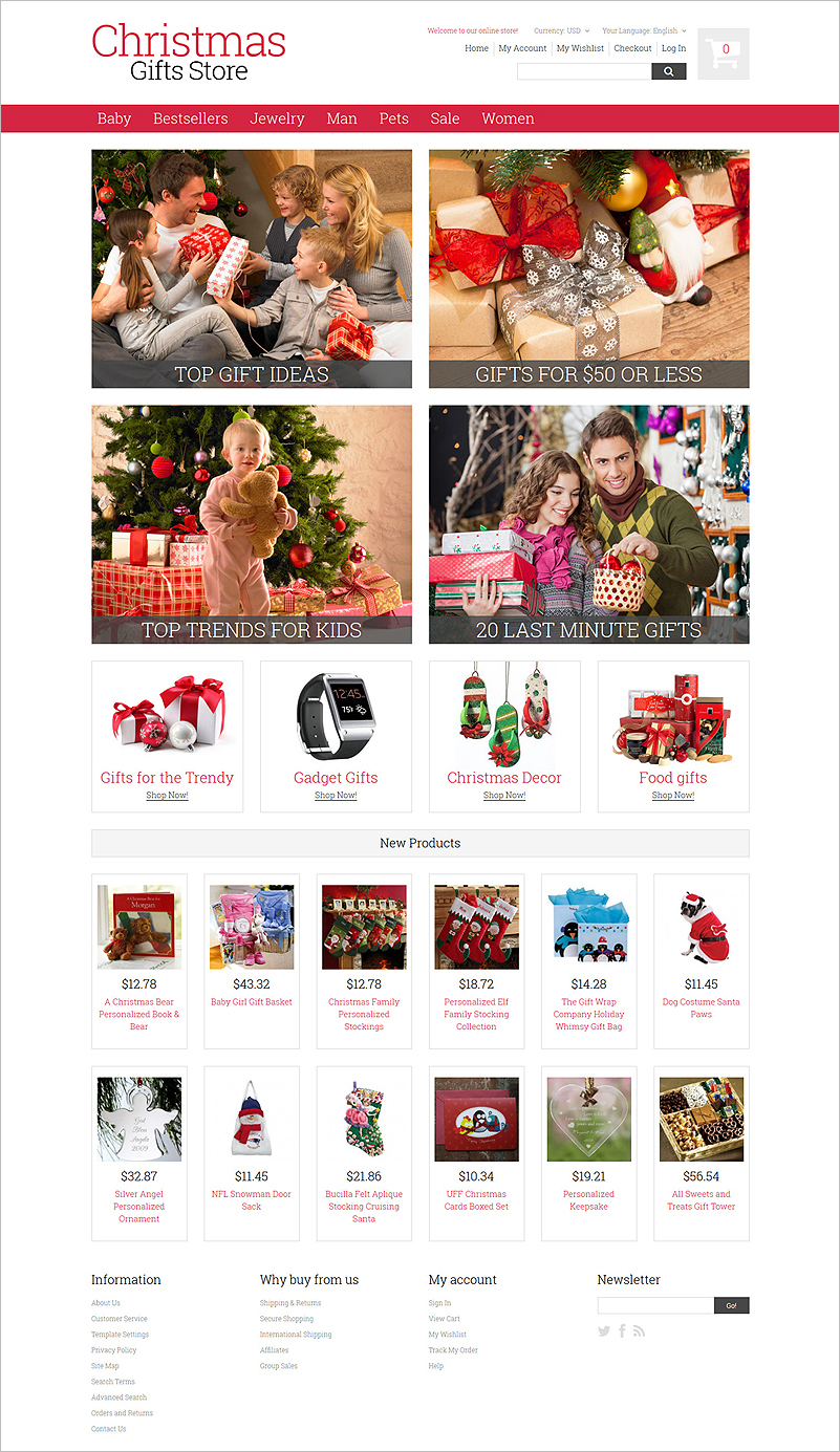 9 christmas ecommerce website themes free website templates for Unique gift shops online