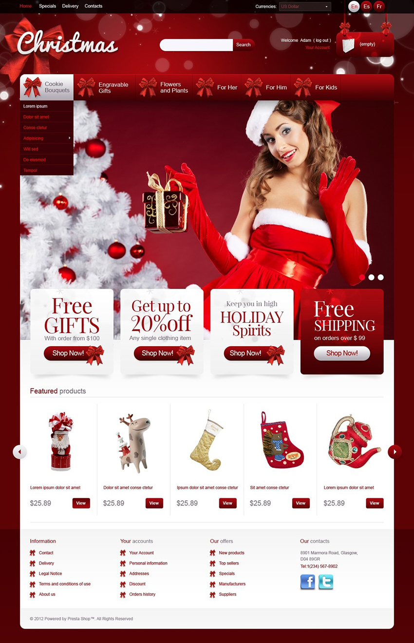 Christmas Gifts eCommerce Theme