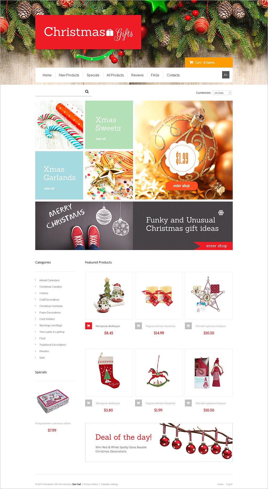 Christmas Online Gifts ZenCart Template
