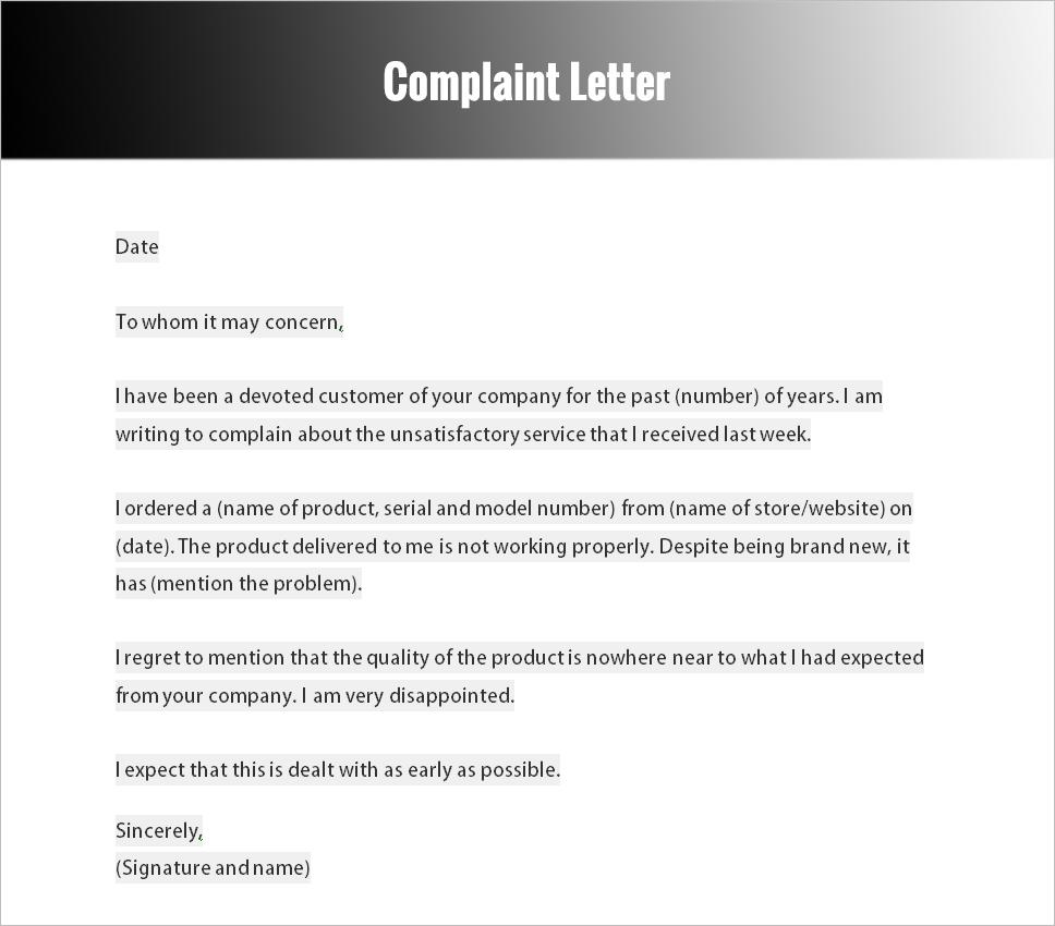 how to write a complaint essay