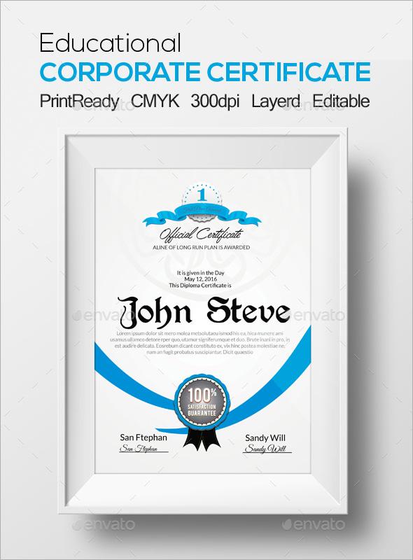 Corporate Certificate Template