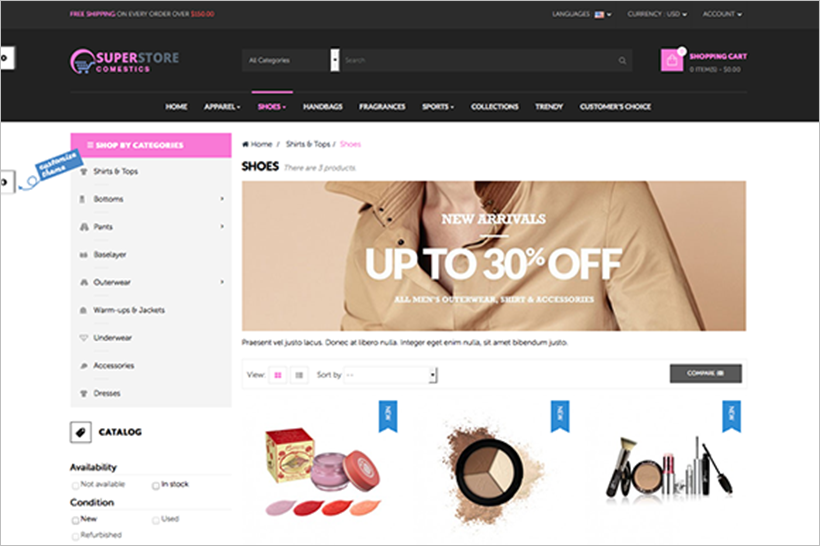 Cosmetic Store Prestashop Site Theme