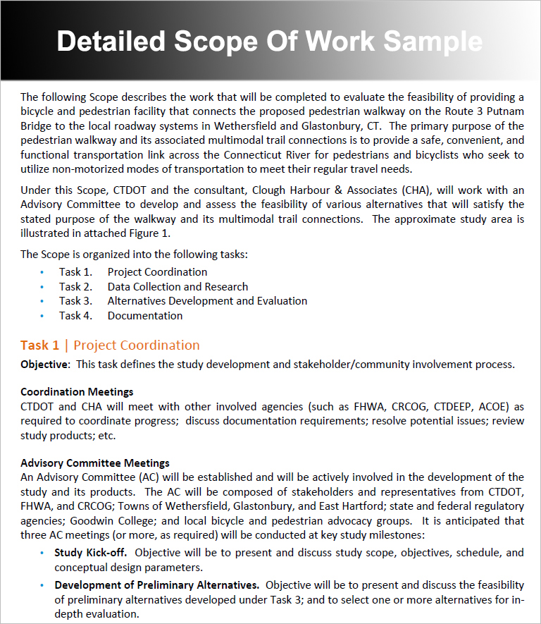 Scope Of Work Templates Free Word Pdf Excel Doc Formats