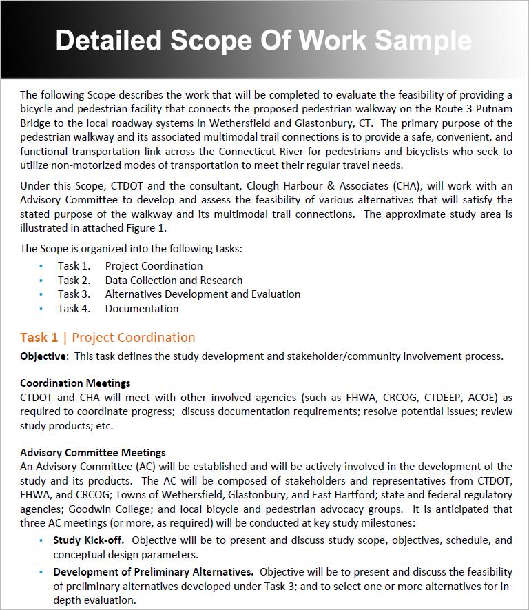 Detailed Scope Of Work Sample