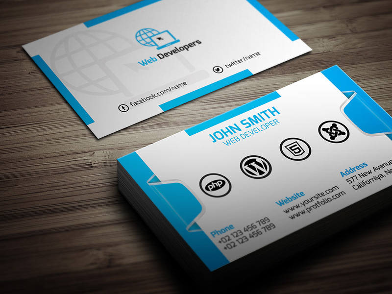 15+ Web Developer Business Card PSD Templates | Creative Template