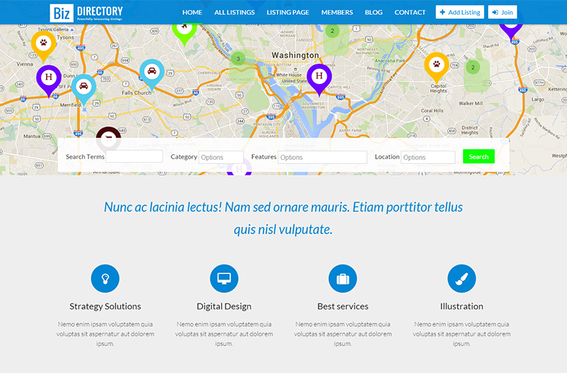 Directories & Classified Business Drupal Template