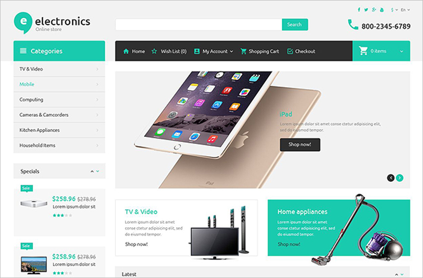 Electronics Multi Store OpenCart Template