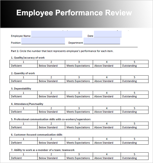 26 employee performance review templates free word excel for Employee performance reviews templates