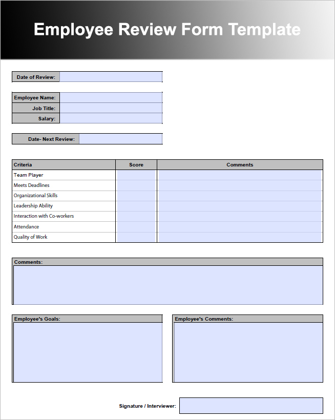 Employee Review Form Template