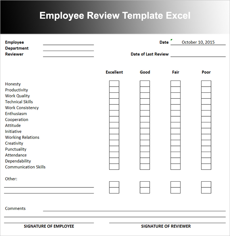 Employee Review Templates  BesikEightyCo