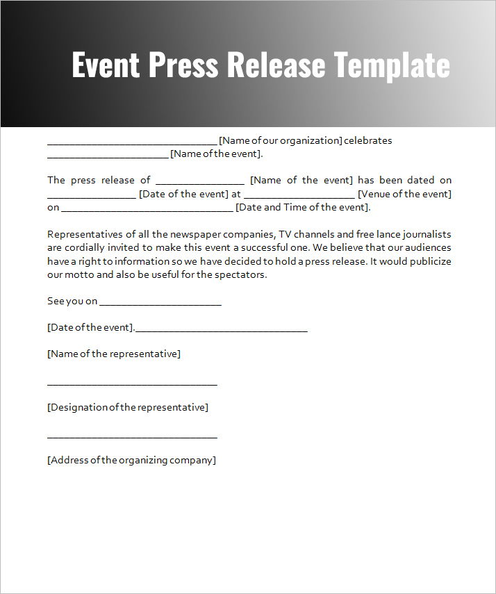 Press release templates free word pdf doc formats for Event press release template word
