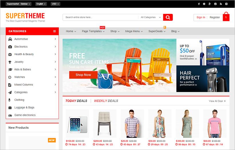 magento homepage template - 23 responsive magento themes free premium templates