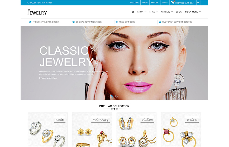 Fashion & Jewelry Prestashop Theme