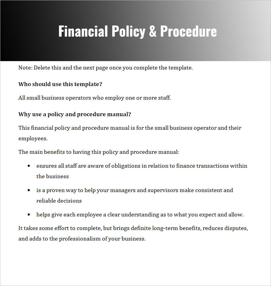 Financial Policies U0026 Procedures For Small Business ...  Manual Template Word