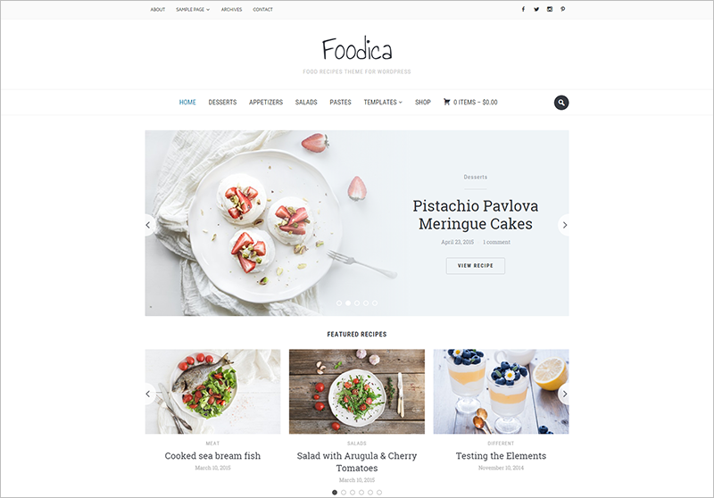 Food Blogging ThemeWith Recipe Shortcodes