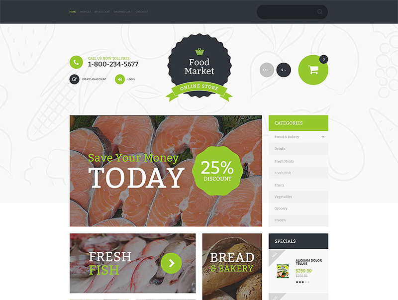Food Market OpenCart Template