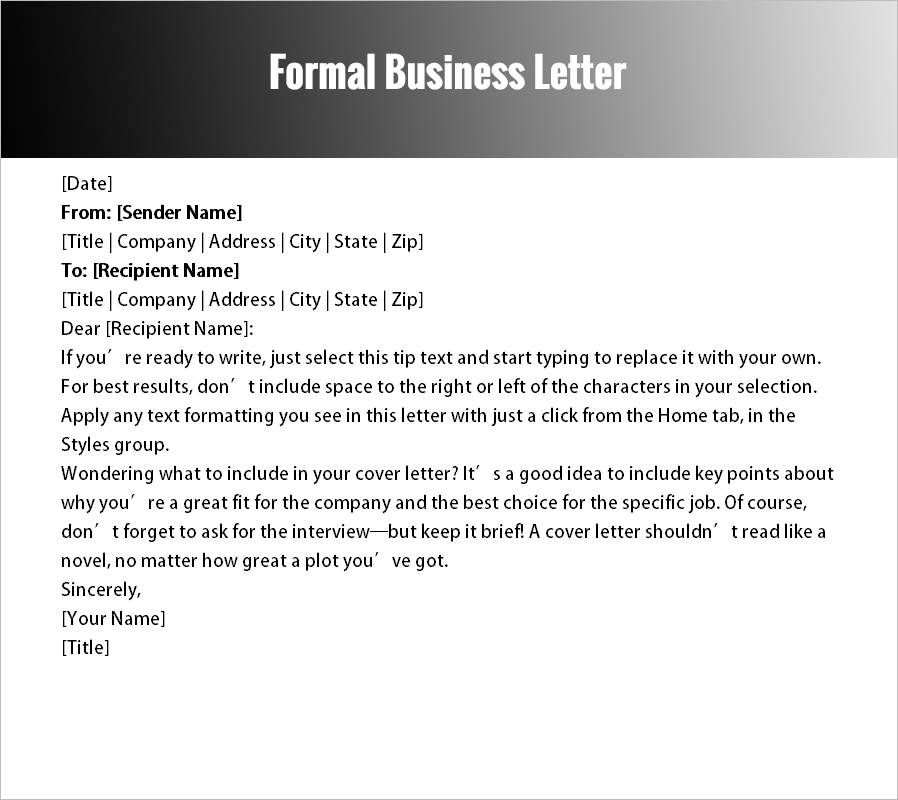 Formal Letter Templates - Free Word Documents Download | Creative