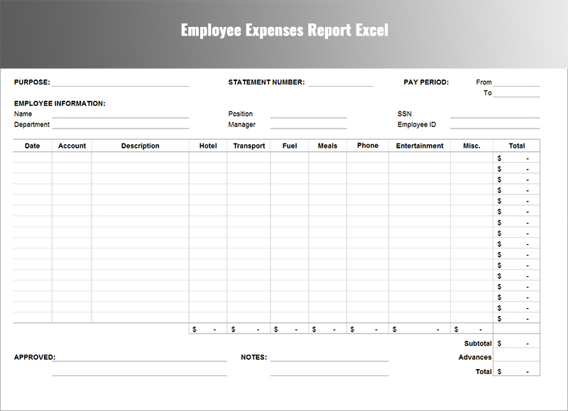 Expenses Report Template  Free WordExcel Download  Creative