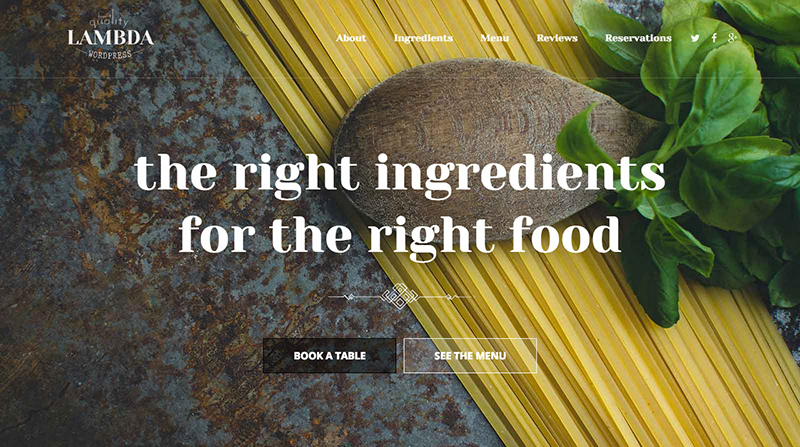 Free One Page HTML Restaurant Template