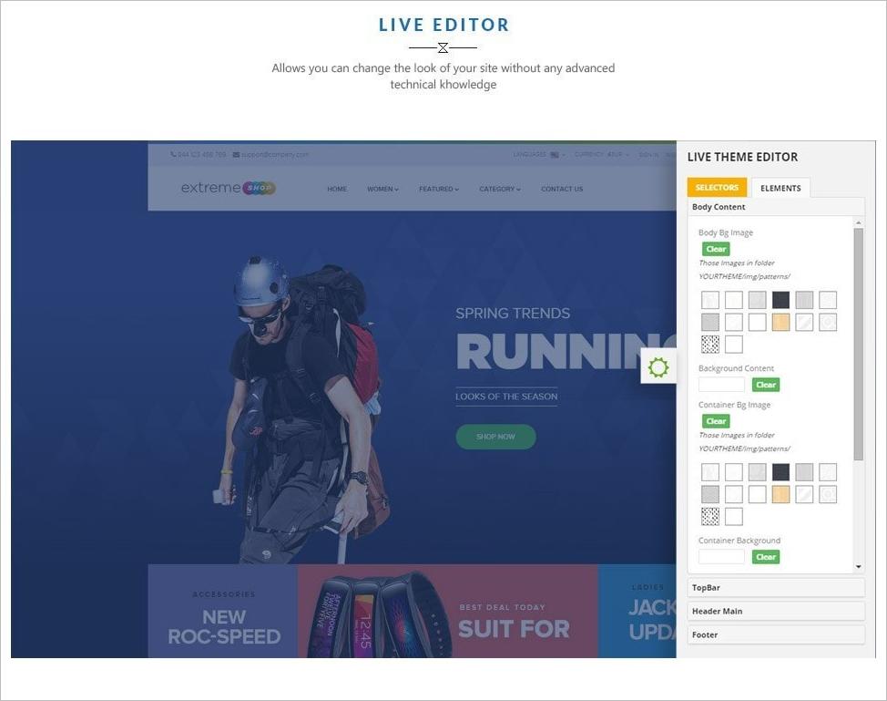 Fully Editable Sports Prestashop Theme Template