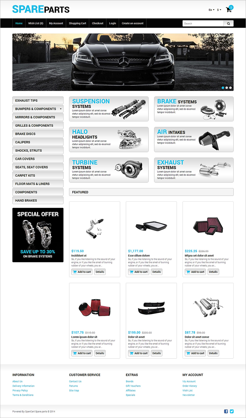 Auto parts opencart themes free premium templates for Opencart bookstore template