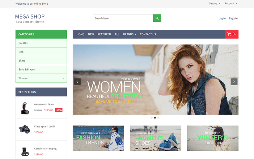 Fully Responsive Fashion Store ZenCart Template
