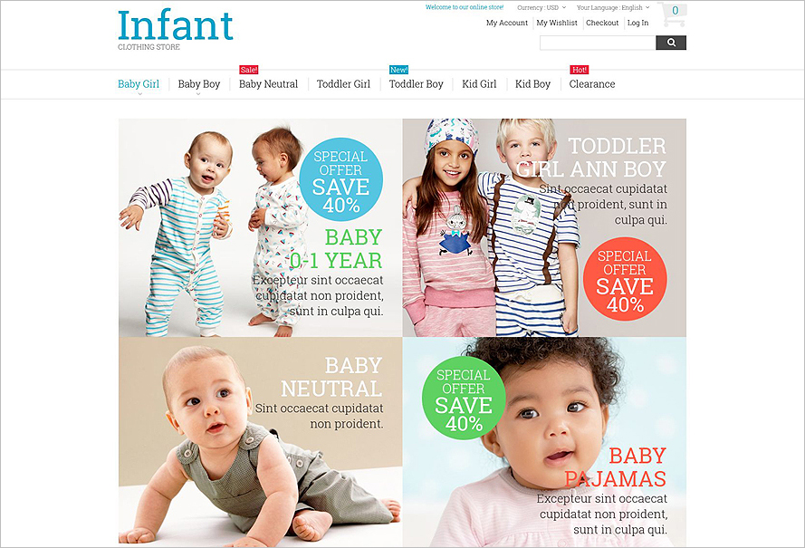 Fully Responsive Kids Clothing Store Magento Theme