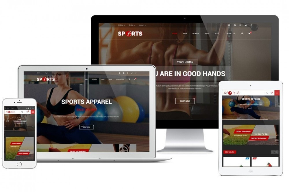 Fully Responsive Sports Apparel Stote PrestaShop Template
