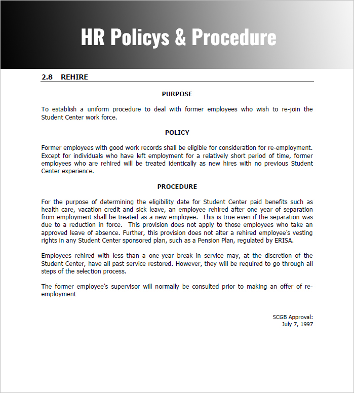 28 policy and procedure templates free word pdf download for Employee procedure manual template