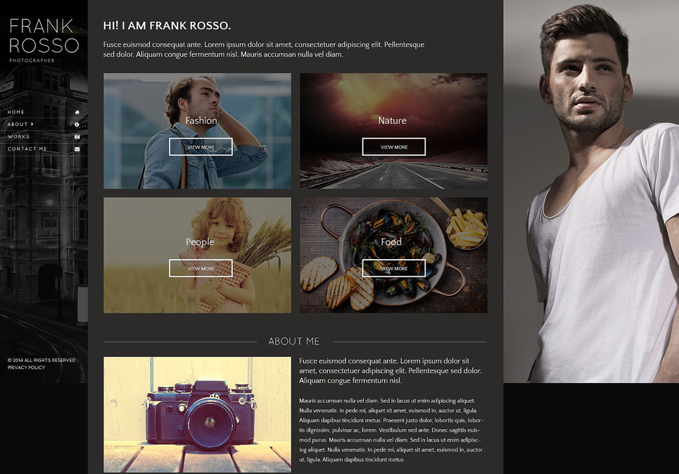 HTML5 Photographer Portfolio Website Template