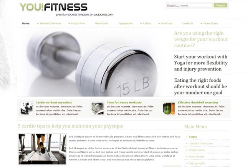 Health Care & Fitness Joomla Template With Mega Menu