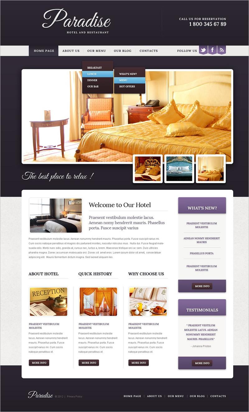 Hotel & Restaurant Drupal Template