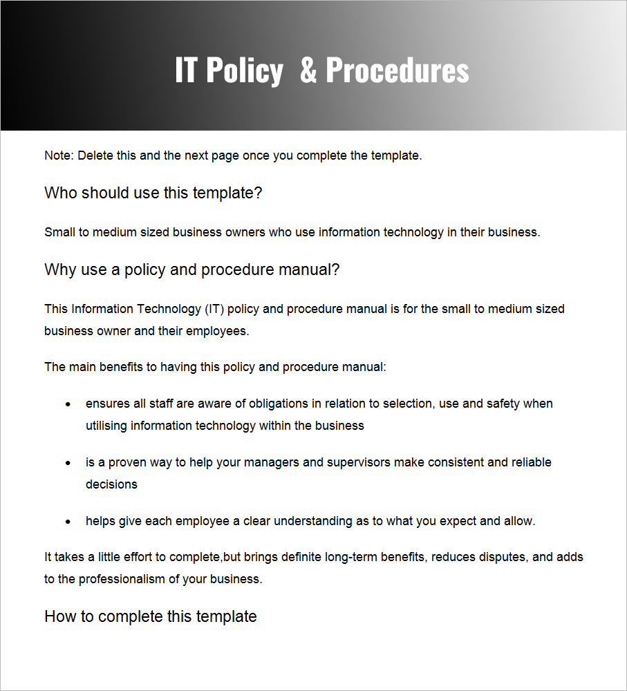 IT Policies U0026 Procedures Word IT Policies U0026 Procedures PDF  Procedure Templates