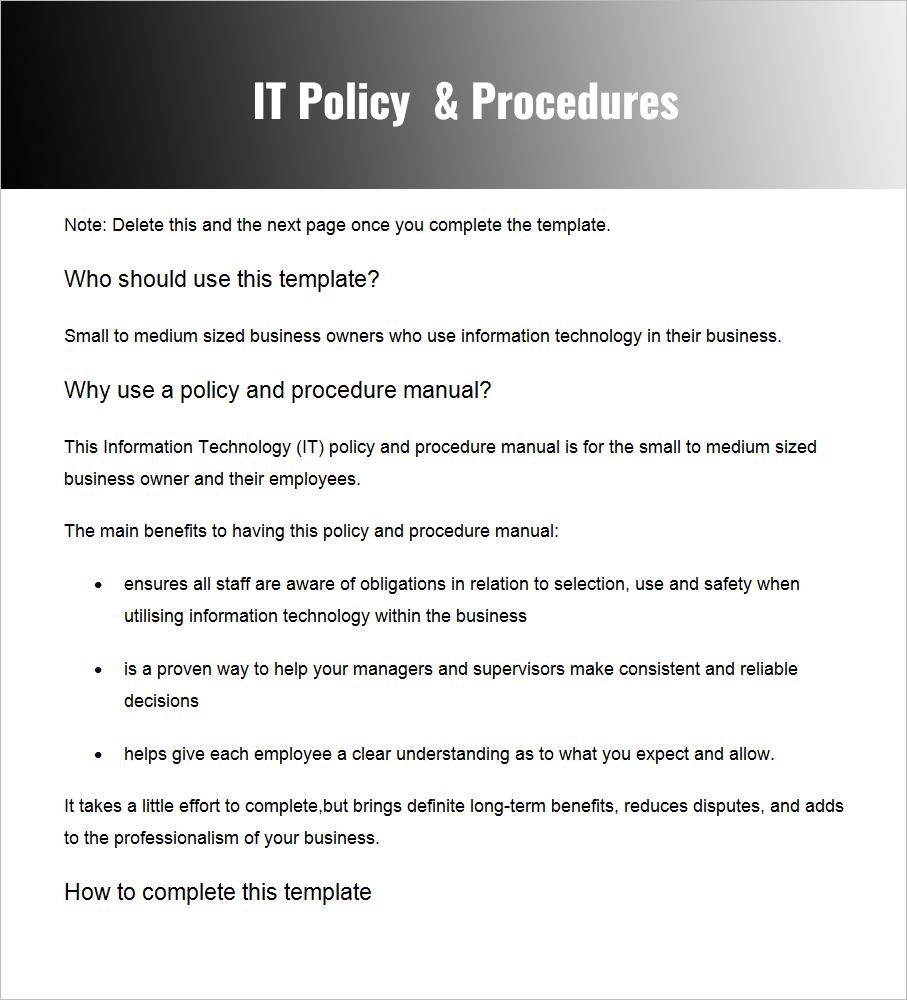 IT Policies & Procedures PDF