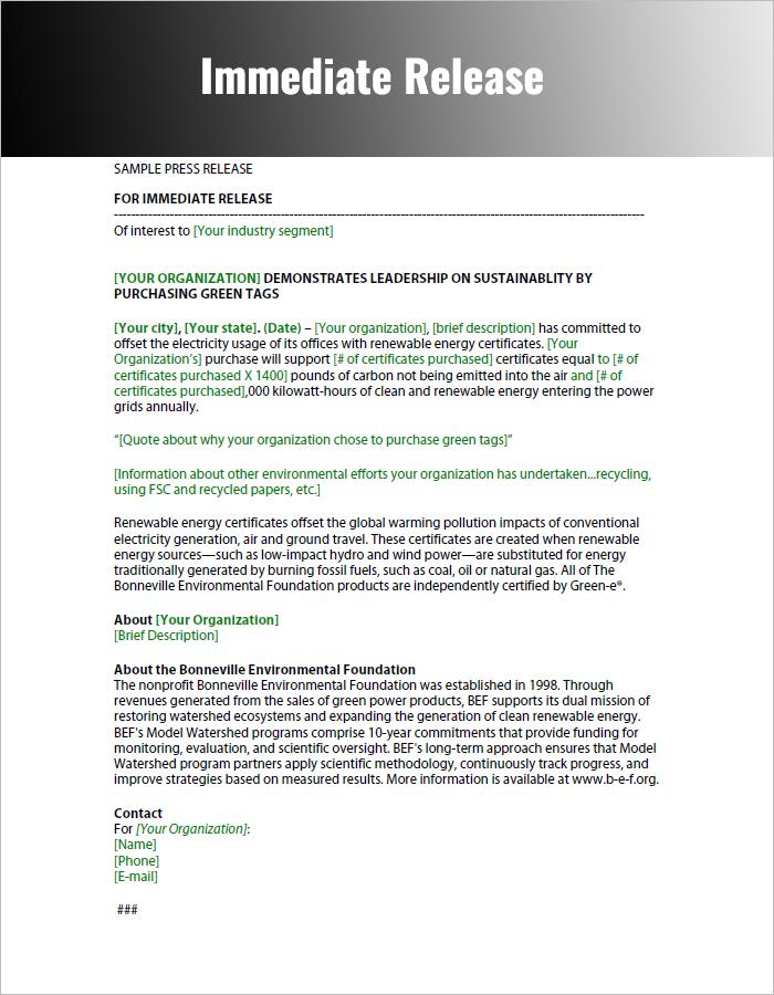 Immediate Press Release pdf Format