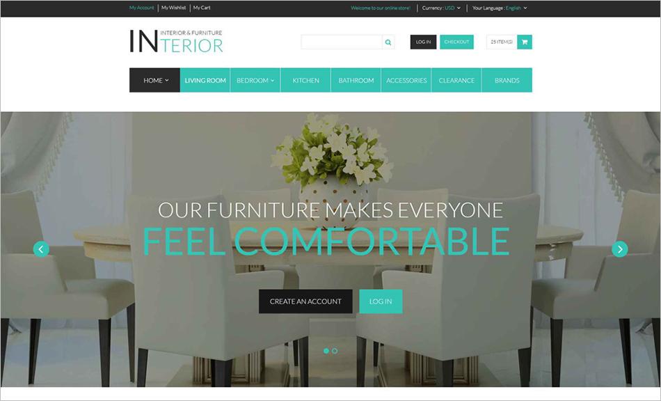 Interior & Furniture Store Responsive Magento Theme