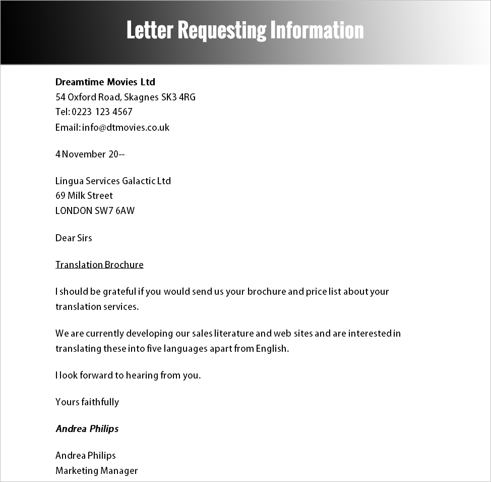 Letter Requesting Information