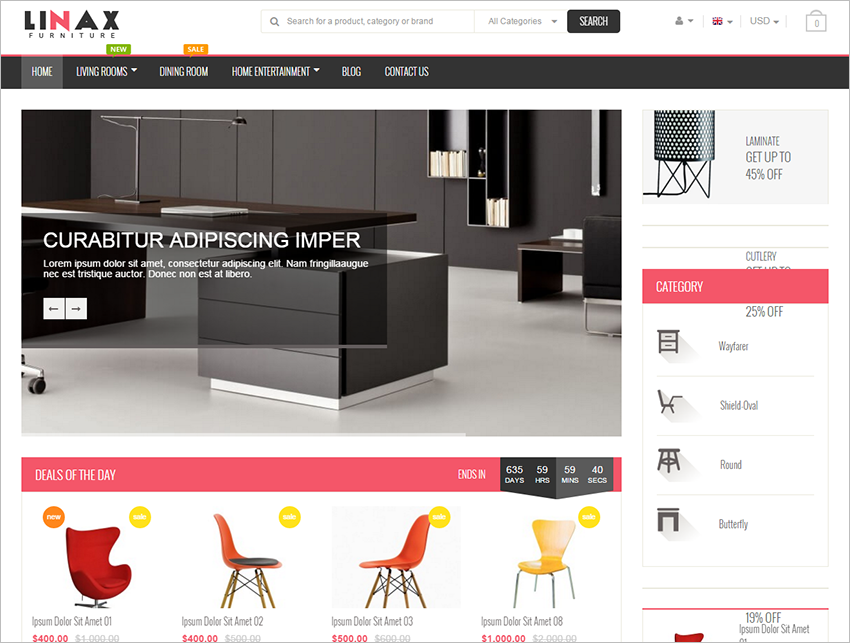Magento Furniture Store Template With Unlimited Colors