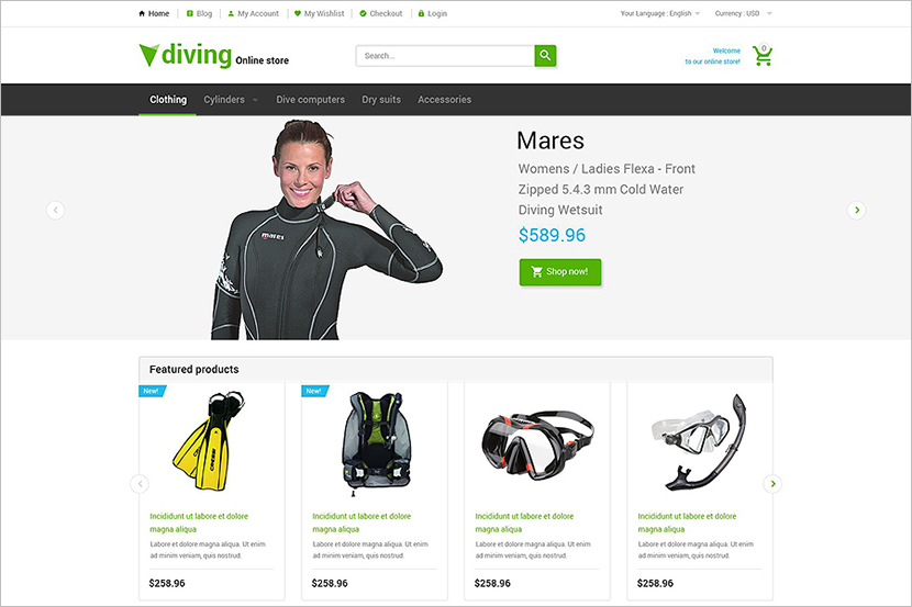 Magento Template For Diving Online Store